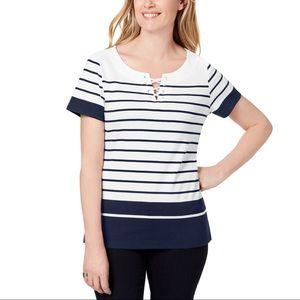 Karen Scott Navy & White Stripe Top Sz PS PM PL